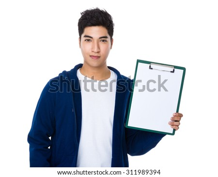 Man show with the clipboard - stock photo
