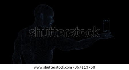Man Showing a Hovering Smartphone to Showcase Technology - stock photo