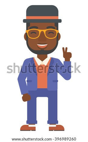 Man showing a sign of peace. - stock photo