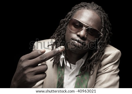 Man showing an obscene gesture - stock photo