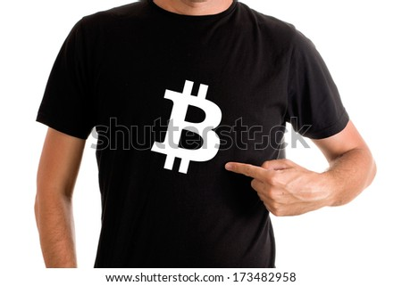 Man showing Bitcoin currency symbol printed on his shirt. Bitcoin is virtual electronic money. - stock photo