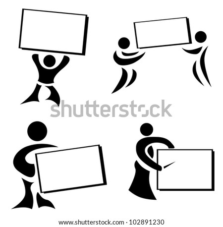 man showing board set abstract illustration