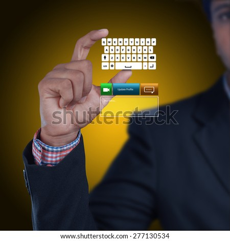 Man showing computer keys
