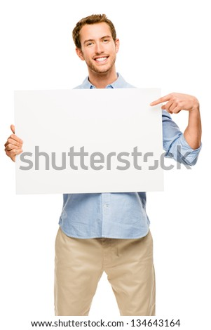 man showing empty space white placard - stock photo
