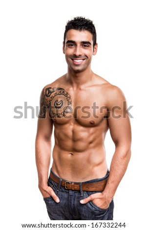 Man showing his great shape over white background - stock photo