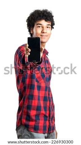 Man Showing Mobile Isolated On White  - stock photo