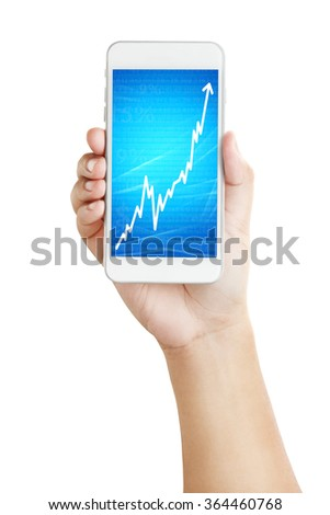 man showing positive growth graph in a smartphone  - stock photo