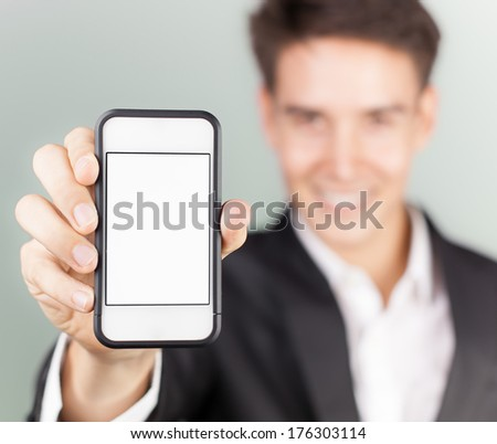 Man showing smart phone mobile - stock photo