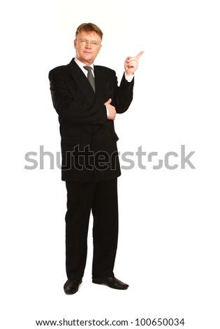 Man showing something , isolated on white background - stock photo