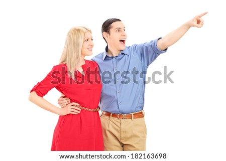 Man showing something to his girlfriend isolated on white background