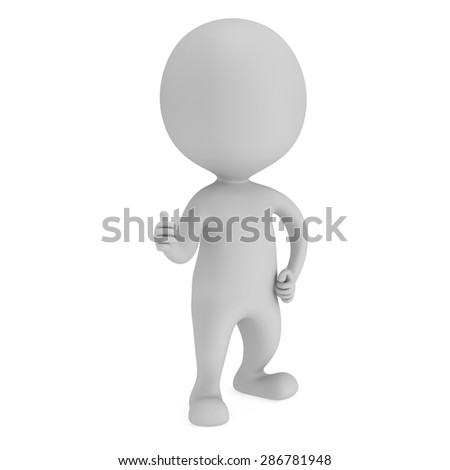 Man showing thumbs up over white background. 3D render.