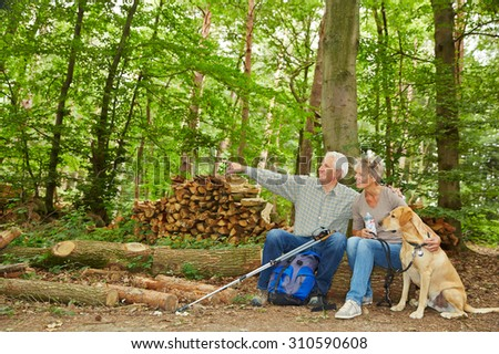 Man showing woman their destination of a hiking trip in forest - stock photo
