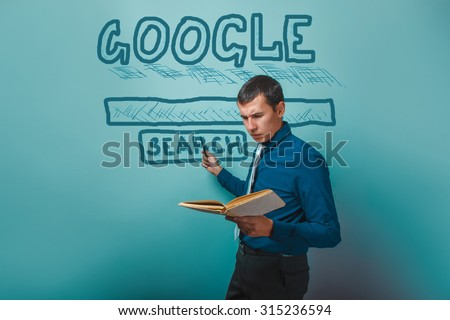 man shows a pointer to search Google holding a book infographics studio background Business Idea - stock photo