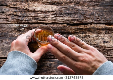 man shows abstinence from alcohol - stock photo