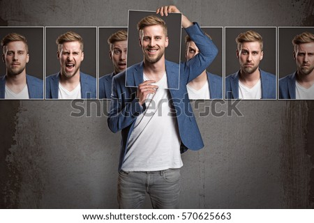 Man shows different emotions