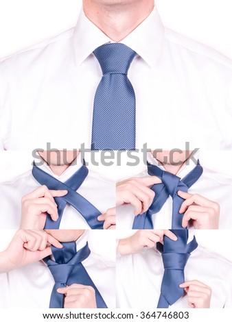 Man shows how tie necktie half foto stock 364746803 shutterstock man shows how to tie necktie with half windsor knot tutorial ccuart Image collections