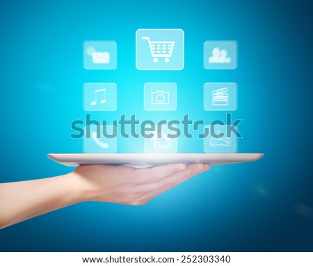 Man shows tablet modern technology as concept - stock photo