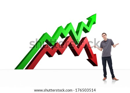 Man shrugging his shoulders against red and green arrows - stock photo