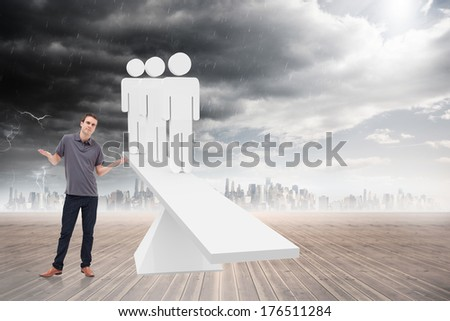 Man shrugging his shoulders against white human resource scales in front of city - stock photo