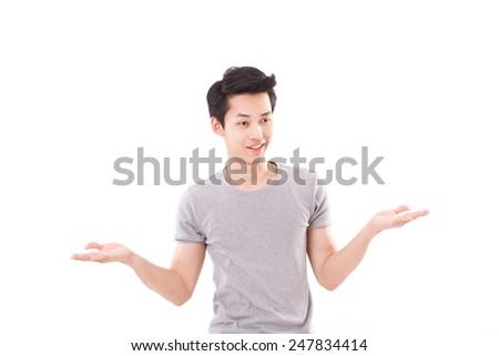 man shrugging, white isolated background - stock photo