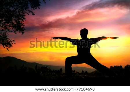 Man silhouette doing virabhadrasana II warrior pose with tree nearby outdoors at sunset background - stock photo