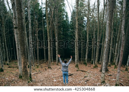 Man silhouette hiker raised his hands up and walking in the Misty mountain forest. Green pine forest landscape. Mountain trek - stock photo