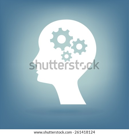 Man silhouette with gear. - stock photo