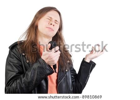 man singing - stock photo