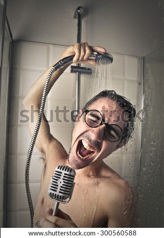 Man singing in the shower - stock photo