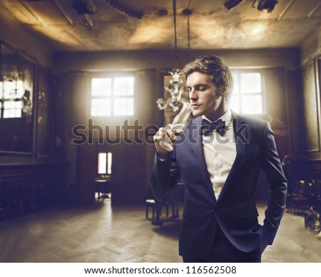 Man sipping champagne in an elegant setting - stock photo