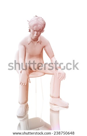 Man sitting concerned - stock photo