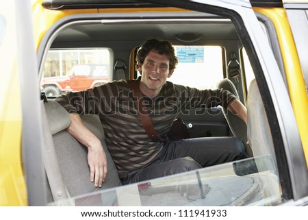 Man sitting in a cab