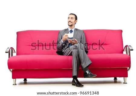 Man sitting in the sofa - stock photo