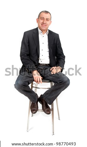 Man sitting on bar chair