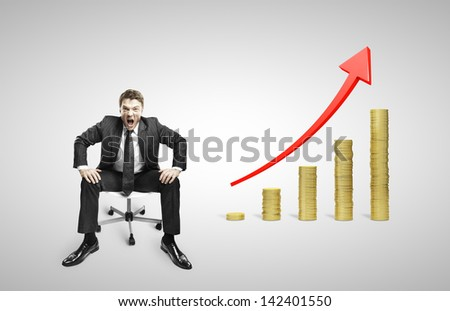 man sitting on chair and screaming with coins stacks