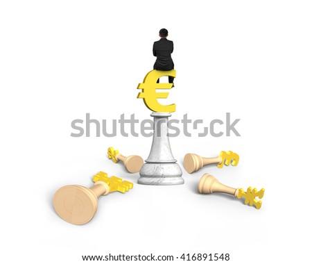 Man sitting on Euro symbol of money chess, isolated on white background. - stock photo