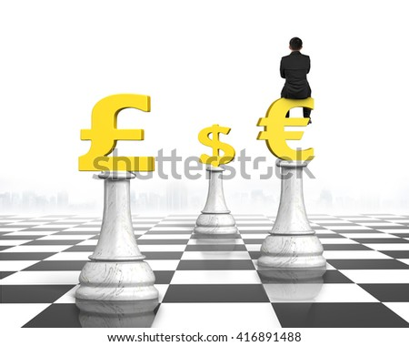 Man sitting on Euro symbol of money chess on chessboard, with white background.