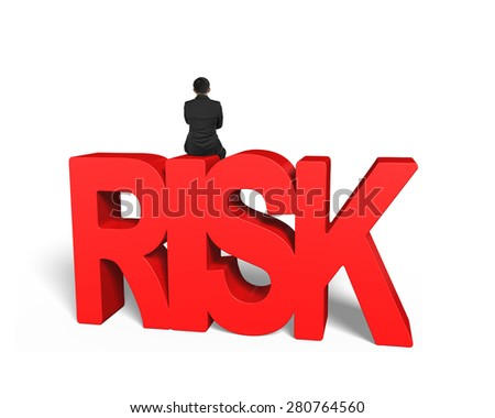 Man sitting on red 3D risk word, isolated on white background - stock photo
