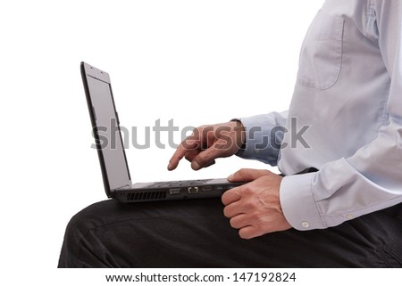man sitting with computer