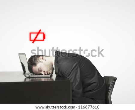 man sleep at a laptop, village battery concept - stock photo