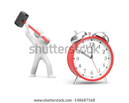 Man smashes alarm clock - stock photo