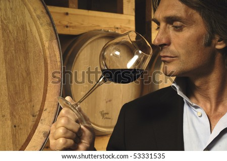 Man smelling a glass of red wine - stock photo