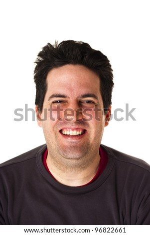 Man smiling isolated on white