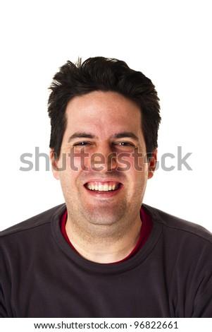 Man smiling isolated on white - stock photo