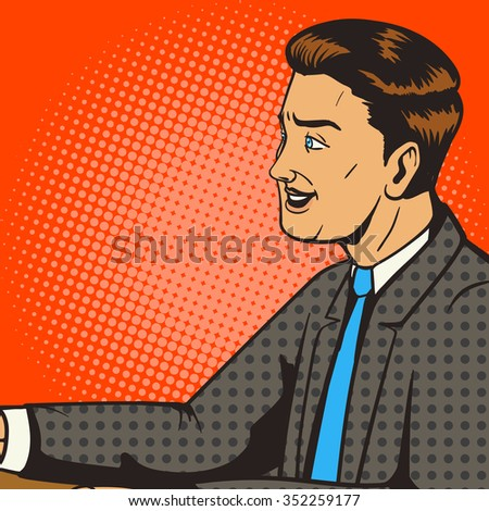 Man smiling pop art retro style raster illustration. Comic book style imitation. Man on the interview