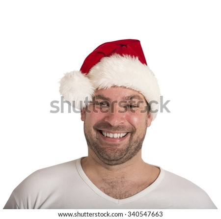 Man smiling with hat of Santa Claus