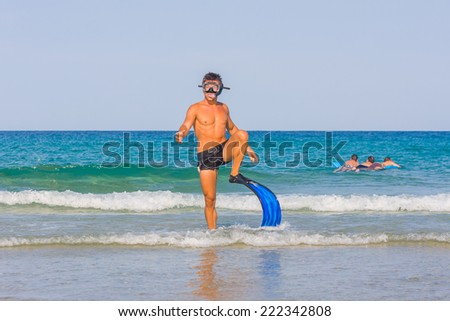Man Snorkeling in the Caribbean Ocean
