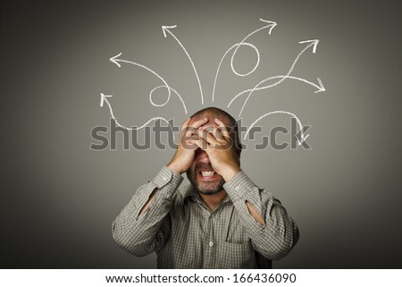 Man solving a problem. Expressions, feelings and moods.  - stock photo