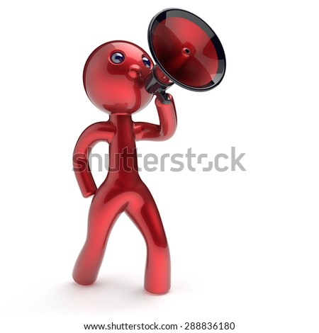 Man speaking megaphone character making announcement news red stylized human cartoon guy speaker person communication people speaker figure icon concept. 3d render isolated - stock photo