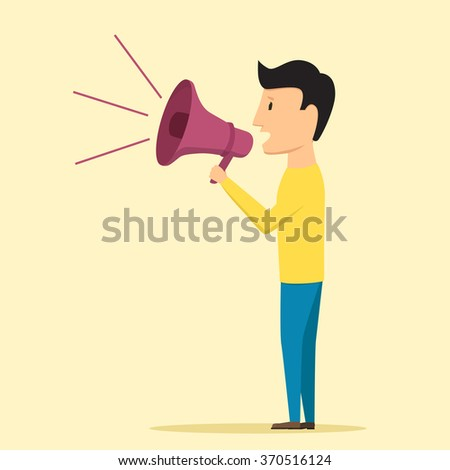 Man speaking through megaphone. Speaker tells news - stock photo